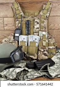dollars in military gear stock photo