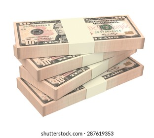 Dollars money isolated on white background. Computer generated 3D photo rendering.