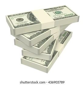 Dollars money isolated on white background. 3D illustration.