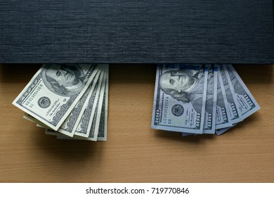 dollars on the desktop on the computer