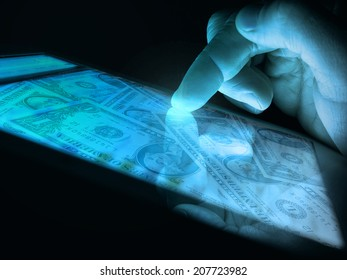 dollars on the tablet screen and touching the finger