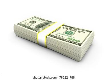 Dollars on white