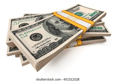Dollars packs against white background. High quality 3d render.