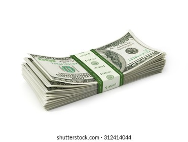 Dollars paper stack isolayed