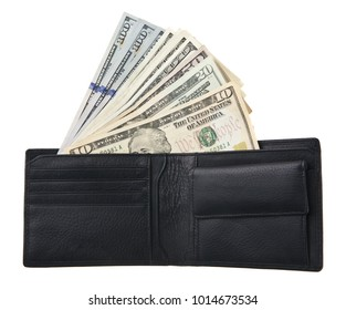 dollars in a purse isolated on a white background