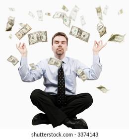 Dollars raining on the yoga man