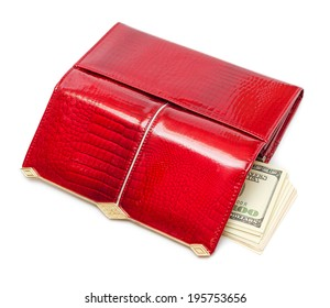 Dollars in the red purse isolated on white background