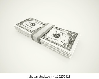 Dollars rendered isolated