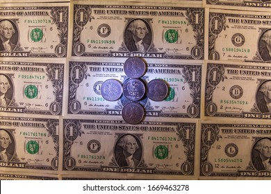 Dollars and rubles. Business concept. Banknotes and coins Money