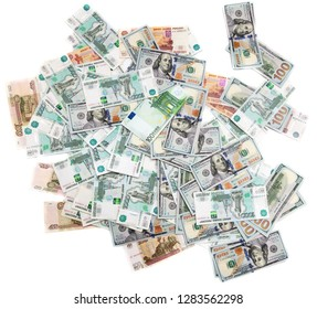 Dollars and Russian Euro rubles on a white background .