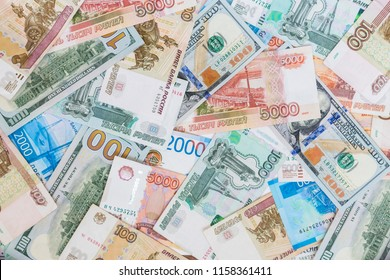 Dollars and Russian rubles banknotes. Business concept International currencies background.