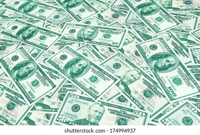 Dollars seamless background. High resolution wallpaper texture of rolled in a tube one hundred and flat fifty banknotes toned in green and blue