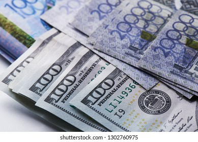Dollars and tenge. American and Kazakh money close up