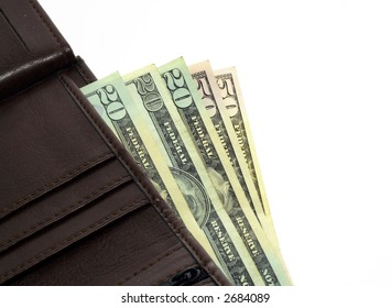 Dollars in a wallet on white background