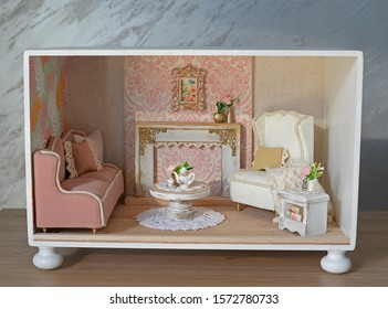 Dollhouse as one room, handmade furniture