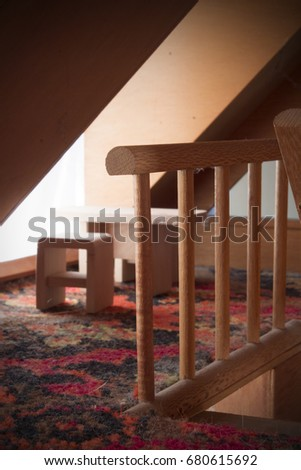Dollhouse Staircase Railing Table Chairs Background Stock Photo