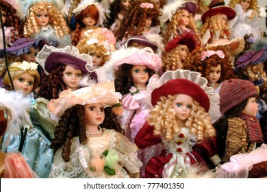 Dolls collectible for sale on market stall