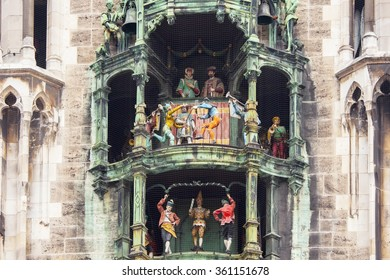 The dolls dancing in the clock of Marienplatz in Munich, Germany.