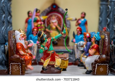 Dolls depicting the scene from Ramayana where Lord Rama breaks the divine bow and weds Sita