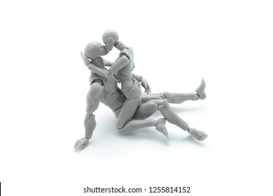 Dolls intercourse sex on white background, Sex education, Set of sex position for learn, mix of loving couple for best life and happiness together