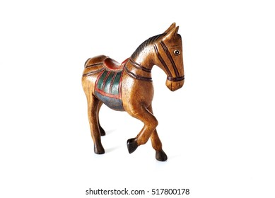 Dolls, wooden horse