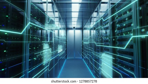 Dolly shot of the interior of a data center with glowing circuit board lines running along the wall
