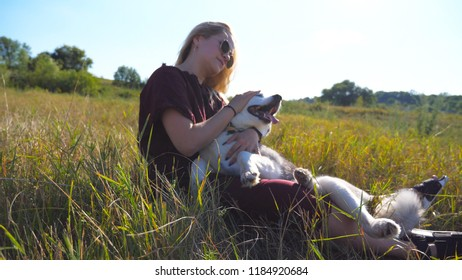 Dolly shot of young girl with blonde hair sitting on grass at field and hugging her husky dog. Beautiful woman in sunglasses caress and kissing her pet at meadow. Friendship with domestic animal.