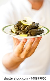 Dolma dish on a table served by the cook