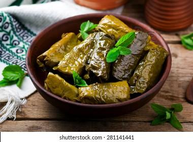 dolma ,greek traditional appetizer on ceramik  bowl.selective focus