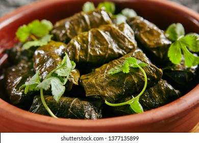 Dolma, Sarma or Dolmades Stuffed with Lamb and Rice Close Up with Selective Focus. Homemade Dolmades, Dolmadakia or Tolma with Mutton Meat and Marinated Vine Leaves