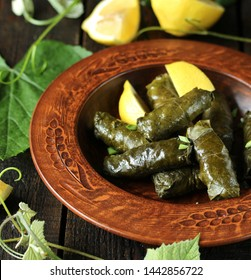 dolma- stuffed grape leaves with rice and meat. dish of Caucasian cuisine. served with fermented milk yogurt sauce. top view. cuisine of the North Caucasus. country style. clay dishes