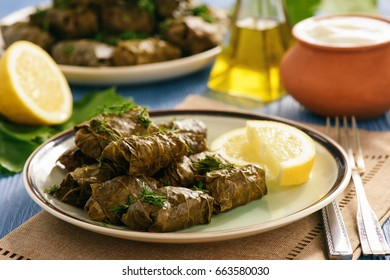 Dolma - stuffed grapes leaves, traditional mediterranean dish.