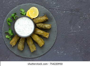 dolma stuffed with meat and rice leaves of grapes.