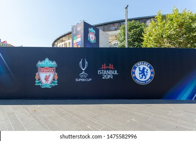 Dolmabahce, Istanbul / Turkey - August 10 2019: Press background prepared for Chelsea and Liverpool Clubs, Uefa Super Cup 2019 finalists, in front of the BJK Vodafone Park Stadium a week before game.