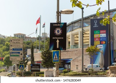 Dolmabahce, Istanbul / Turkey - August 10 2019: Preparation of BJK Vodafone Park Stadium prior to the UEFA Super Cup Final 2019. Entrance direction sign for the Chelsea FC supporters.