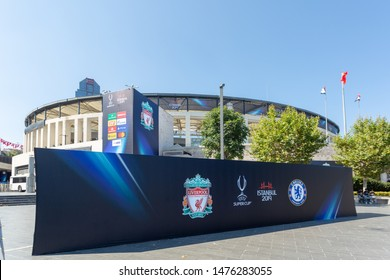 Dolmabahce, Istanbul / Turkey - August 10 2019: Press Shoot Board prepared for Chelsea and Liverpool Football Clubs, Uefa Super Cup Final 2019 contestants, in front of the BJK Vodafone Park Stadium.