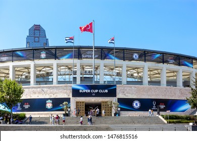 Dolmabahce, Istanbul / Turkey - August 10 2019: Main Entrance of BJK Vodafone Park Arena before UEFA Super Cup Final 2019.