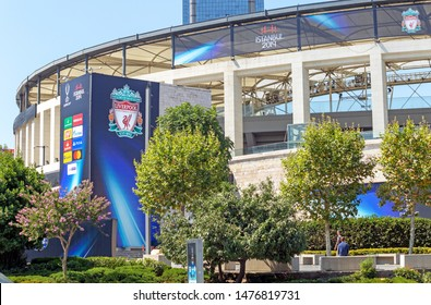 Dolmabahce, Istanbul / Turkey - August 10 2019: BJK Vodafone Park Stadium and Liverpool logo on the wall before the UEFA Super Cup Final 2019.