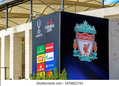 Dolmabahce, Istanbul / Turkey - August 10 2019: BJK Vodafone Park Stadium, Liverpool coverings and security cameras prior to UEFA Super Cup Final 2019.