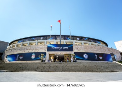 Dolmabahce, Istanbul / Turkey - August 10 2019: Main Gate of BJK Vodafone Park Stadium prior to UEFA Super Cup Final 2019 between Liverpool FC and Chelsea.