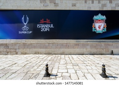 Dolmabahce, Istanbul / Turkey - August 10 2019: Liverpool Football Club and Super Cup Logos on the wall of BJK Vodafone Park Stadium couple of days before Uefa Super Cup Final 2019 game night.