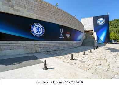 Dolmabahce, Istanbul / Turkey - August 10 2019: Chelsea Football Club and Super Cup Logos on the wall of BJK Vodafone Park Arena couple of days before Uefa Super Cup Final 2019 game night.