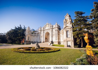 Dolmabahce Palace in Besiktas district, on the European coast of the Bosphorus in Istanbul, Turkey