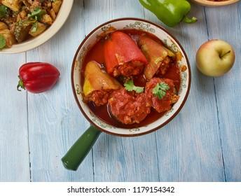 Dolmas, Balkan stuffed vegetables, Balkan cuisine cuisine, Traditional assorted dishes, Top view.
