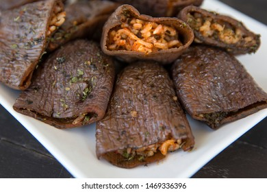 Dolma,Turkish traditional food, dried eggplant with stuffed rice