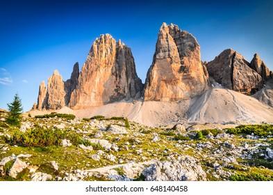 Dolomite Alps, Italy - Tre Cime di Lavaredo rocks, Sexten Dolomites, South Tyrol.
