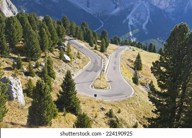 Dolomite landscape with mountain road, view from above. Was seen near the Sella Mountain.