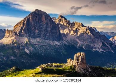 Dolomite landscapes climbing towards the Nuvolau
