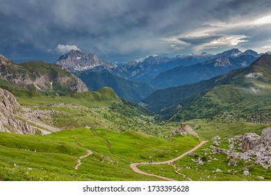 Dolomite landscapes and Giau pass