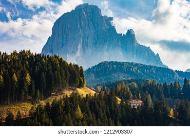Dolomite mountains at the begining of the autumn season